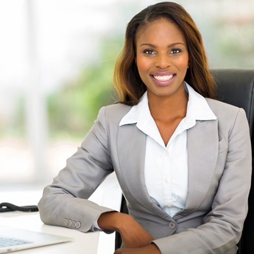 young afro american businesswoman sitting in office